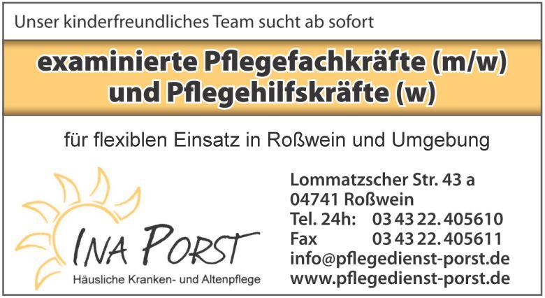 Stellenanzeige Pflegedienst Ina Porst Roßwein